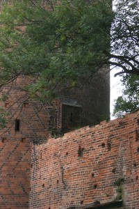 Ein Stück Tangermünder Stadtmauer das an einen Turm stößt